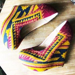 Steve Madden Wedges Pammy Aztec Fabric Print